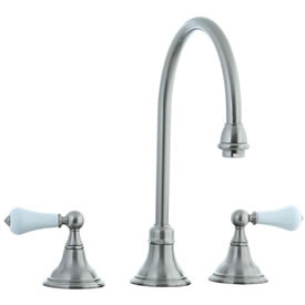 Cifial 272.230.620 - Asbury Porcelain Lever Kitchen Widespread Faucet without spray -Satin Nickel
