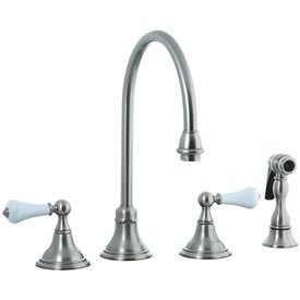 Cifial 272.245.620 - Asbury Porcelain Lever Kitchen Widespread Faucet with spray -Satin Nickel