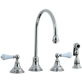 Cifial 272.245.721 - Asbury Porcelain Lever Kitchen Widespread Faucet with spray - Polished Nickel