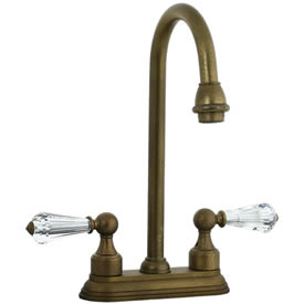 Cifial 275.225.V05 - Asbury Crystal Handle 4-inch Center Bar Faucet - Aged Brass