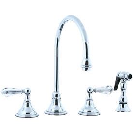Cifial 275.245.625 - Asbury Crystal Handle Kitchen Widespread Faucet with spray - Polished Chrome