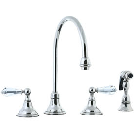 Cifial 275.245.721 - Asbury Crystal Handle Kitchen Widespread Faucet with spray - Polished Nickel