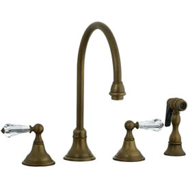 Cifial 275.245.V05 - Asbury Crystal Handle Kitchen Widespread Faucet with spray - Aged Brass