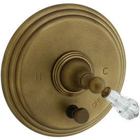 Cifial 275.611.V05 - Asbury Crystal Handle Pressure Balance Mixing Valve Trim B/S Valve with Diverter Trim-Ag Br