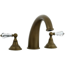 Cifial 275.650.V05 - Asbury Crystal Handle 3-pc Hi-arch Roman Tub Faucet Trim - Aged Brass