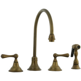Cifial 278.245.V05 - Asbury Kitchen Widespread Faucet with spray - Aged Brass