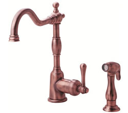 Danze D401557AC - Opulence Single Handle Kit Lever Handle with Spray - Antique Copper