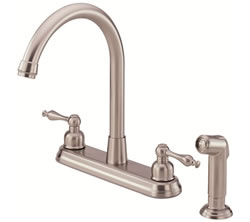 Danze D422055SS - Sheridan Two Handle Kit Hi Rise Spout Lever Handle with Spray - Stainless Steel