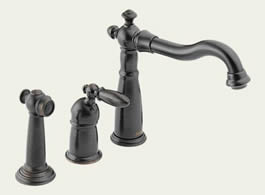 Delta Victorian: Single Handle Kitchen Faucet With Spray - 155-RB-DST