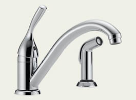 Delta Classic: Single Handle Kitchen Faucet With Spray - 175-DST