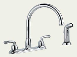 Delta: Two Handle Kitchen Faucet With Spray - 21916