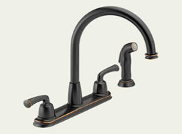 Delta: Two Handle Kitchen Faucet With Spray - 21916-OB