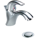Delta Commercial 22C801 Single hole mounted commercial lavatory faucet with lever handle and pop-up drain.