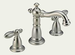 Delta 35955LF-SS - Delta Victorian: Two Handle Widespread Lavatory Faucet, With Pop-Up - Stainless