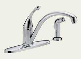 Delta 440-WE-DST Classic: Single Handle Water-Efficient Kitchen Faucet With Spray, Chrome