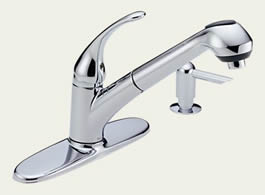 Delta Foundations Core-B: Single Handle Pull-Out Kitchen Faucet With Soap Dispenser - B4310LF-SD