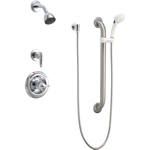 Delta Commercial T13H333 - Classic: Universal Dual Shower Trim, Diverter, Hand Shower, And Grab Bar, Chrome