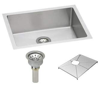 Elkay EFRU211510DBG Avado Undermount Package with stainless steel sink, bottom grid protector and drain assembly.