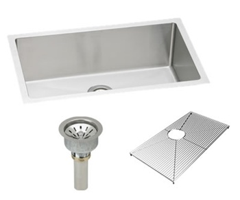 Elkay EFRU2816DBG - Avado Undermount Sink Package includes single bowl EFRU2816 stainless steel kitchen sink, bottom grid protector and basket drain assembly.