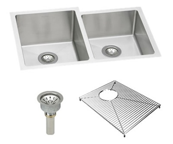 Elkay - EFRU3120RDBG Avado Double Bowl Undermount Kitchen Sink Package with Drain and Bottom Grid Protector