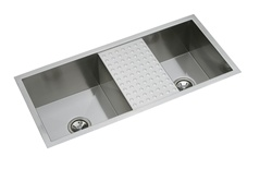 Elkay - EFU401810CDB - Avado Double Bowl Undermount Sink, 2 Bowls with Drain Board, Stainless Steel - 16 Gauge - 10-inch Depth