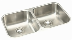 Elkay - EGUH3118 - Gourmet (Elumina) Double Bowl 18 Gauge Stainless Steel Sink with Soft Satin Finish