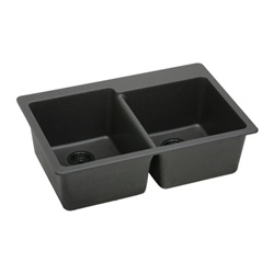 Elkay - ELG250RBK0 - E-Granite Top Mounted Double Bowl Sink, Black