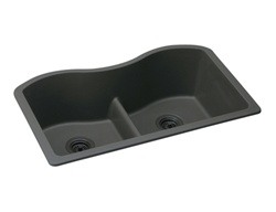 Elkay - ELGULB3322BK0 - Harmony e-granite Double Bowl Sink - Black