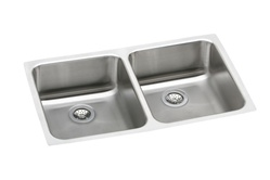 Elkay - ELUH3118 - Gourmet (Lustertone) Undermounted Double Bowl, 18 Gauge Stainless Steel Sink with Lustrous Satin Finish