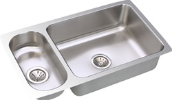 Elkay - ELUH3219 - Gourmet (Lustertone) Undermounted Double Bowl, 18 Gauge Stainless Steel Sink with Lustrous Satin Finish