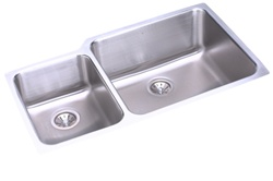 Elkay - ELUH3520L - Gourmet (Lustertone) Undermounted Double Bowl, 18 Gauge Stainless Steel Sink with Lustrous Satin Finish