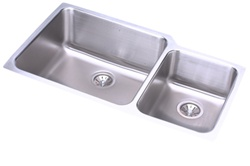 Elkay - ELUH3520R - Gourmet (Lustertone) Undermounted Double Bowl, 18 Gauge Stainless Steel Sink with Lustrous Satin Finish