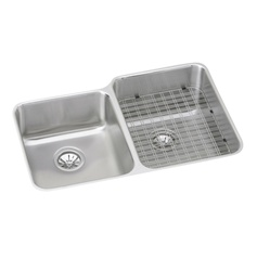 Elkay - ELUHWS3120L - Gourmet (Lustertone) Undermounted Double Bowl, 18 Gauge Stainless Steel Sink with Lustrous Satin Finish