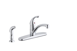 Elkay LK1001CR - Single Lever Kitchen Faucet with Deck Plate and Side Spray