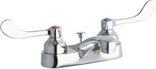 Elkay LK403T4 - 4-inch Center Deck Mount Lavatory Faucet with Wristblade Handles and Pop-Up Drain Assembly