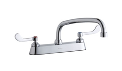 Elkay LK810AT10T4 - 8-inch Center Deck Mount Faucet with wing handles and 10 swing spout