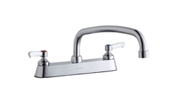 Elkay LK810AT12L2 - 8-inch Center Deck Mount Faucet with lever handles and 12-inch Swing Spout