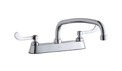 Elkay LK810AT12T4 - 8-inch Center Deck Mount Faucet with Wing Handles and 12-inch Swing Spout