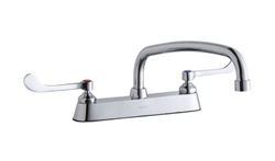 Elkay LK810AT12T6 - 8-inch Center Deck Mount Faucet with long wing handles and 12-inch Swing Spout