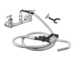 Encore (CHG) KL53-3100 - Encore®  Pot Filler Assembly, Wall Mount, 8-inch OC, 72-inch stainless steel flexible hose, 1/4-turn full volume ceramic valve, lever handle, wall hook, hooked spray valve