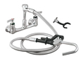 Encore (CHG) KL53-3100-VB - Encore®  Pot Filler Assembly, Wall Mount, 8-inch OC, 72-inch stainless steel flexible hose, vacuum breaker, 1/4-turn full volume ceramic valve, lever handle, wall hook, hooked spray valve