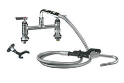 Encore (CHG) KL60-3000 - Encore®  Pot Filler Assembly, Deck Mount, Elevated Bridge, 8-inch OC, 72-inch stainless steel flexible hose, 1/4-turn full volume compression valve, lever handle, wall hook, hooked spray valve