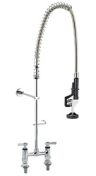 Encore (CHG) KL66-1000-BS - Encore® Deck Mount Pre-Rinse Assembly, 6-inch OC, 1/4-turn full volume compression valves, lever handles, wall bracket, stainless steel spring