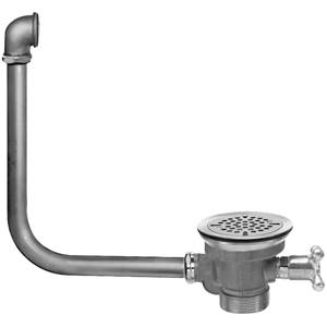 Fisher 22381 - DrainKing Waste Valve with Flat Strainer, 19-inch x 16-inch Overflow and Vandal Resistant Knob