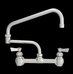"Fisher - 60607 - 8"" Wall Mounted Faucet with Concentrics & EZ Install Adapters, 21-inch Double Jointed Swing Spout and Lever Handles"