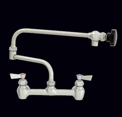 "Fisher - 65641 - 8"" Wall Body with Concentrics & EZ Install Adapters, 24-inch Double Jointed Swing Spout and Wrist Handles"