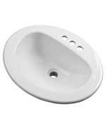 Gerber - MAXWELL S-RIM LAVATORY FAUCET 20-inch X17-inch OVAL 4-inch C BONE TRAPEZOID CTN