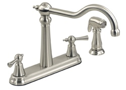 Gerber 42-806-SS Brianne™ Traditional Two Handle Kitchen Faucet with Side Spray, Stainless Steel Finish