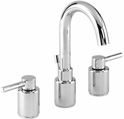 Gerber 43-091 Wicker Park™ Two Handle Widespread Lavatory Faucet with Contemporary Styling and Chrome Finish. Wicker Park widespread faucets are adjustable from 8-12 in. centers, and come with a brass pop-up drain.