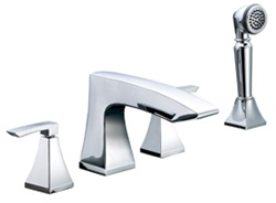 Gerber G8-311 Logan Square™ Roman Tub Faucet with Transitional styling, Hand Shower and Ceramic disc cartridges, Chrome